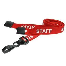 10 x Red Staff Premium Safety Lanyard Strong Plastic Clip For ID Card Holders