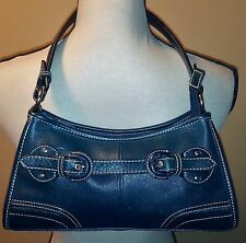 Wilson's Leather Navy Blue Purse Handbag Shoulder Bag~Buckle~Small~Dressy Casual