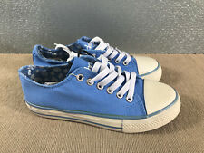 BNWT Older Girls Sz 1 Rivers Doghouse Brand Light Blue lace up Canvas Shoes