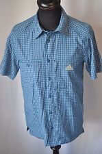 Adidas blue check short sleeve shirt size small classic