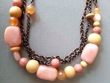 Copper Triple Strand Chain Pale Pink, Rose, Amber and Wooden Bead Necklace