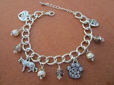 German Shepherd Dog Charm Bracelet w/ Freshwater Pearls & Swarvoski Crystals