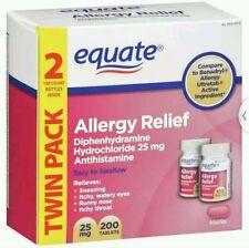 Equate Diphenhydramine Hydrochloride Allergy Relief, 200ct Comp Benedryl OTC NIB