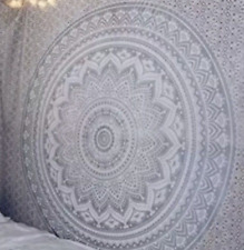 Silver Indian Ombre Mandala Tapestry Wall Hanging Bedspread Throw Tapestries Big