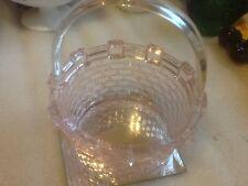 """Vintage Depression Glass 7"""" Pink Opalescent Basket-weave Basket"""