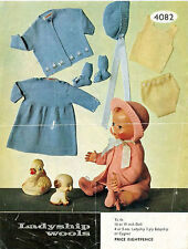 """VINTAGE KNITTING PATTERN COPY - TO KNIT DOLLS CLOTHES - 1950'S -16 OR 19"""" DOLLS"""