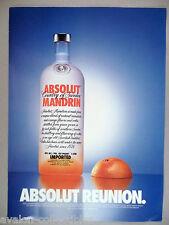 Absolut Mandarin Vodka - Absolut Reunion PRINT AD -  2002