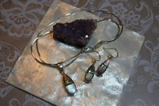 Paolo Romeo S. Webster 925 Sterling Silver Inlaid Pendant Necklace & Earrings(M)