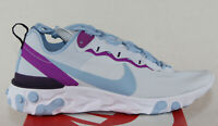 New Nike Women's React Element 55 in Football Grey/Psychic Blue Colour Size 9
