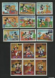 St. Vincent & Grenadines. 1998 Mickey Mouse Set and Blk of 6. ALL NHM