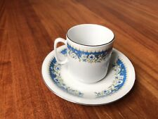 VTG Chinese Hand Painted Blue Floral Porcelain Demitasse Cup & Saucer
