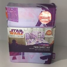 Disney Star Wars Forces of Destiny Twin Purple Sheet Set Flat Fitted Pillowcase