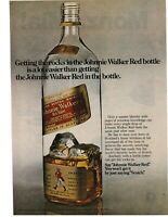 1975 VINTAGE PRINT AD - JOHNNIE WALKER RED - ROCKS IN JOHNNIE WALKER RED BOTTLE