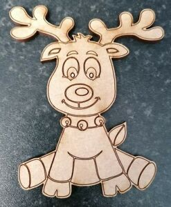 Reindeer MDF Wooden Craft Shapes Christmas Gift Tags Bunting