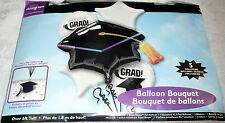Anagram CONGRATS GRAD! 5 Balloon Bouquet Over 6 Ft. Tall CAP with Tassel - White