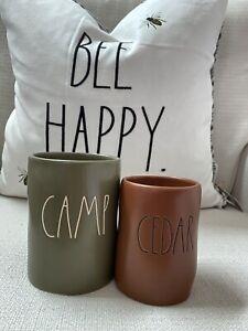 New! HTF! Rae Dunn CAMP, CEDAR - wood wick candles - 2 candles - New