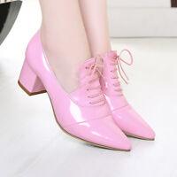Womens Lace Up Mid Cuban Heel Pointy Toe Punk Vintage New Pumps Shoes ALL AU Sz