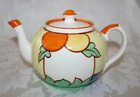 LOVELY COLOURFUL HAND PAINTED ART DECO ORANGES AND LEMONS 2 PINT TEAPOT