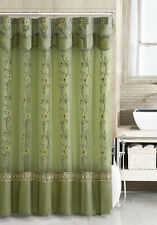 Sage GreenTwo-Layered Embroidered Fabric Shower Curtain with Attached Valance