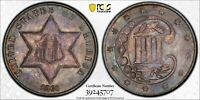 1860 3CS PCGS MS65 Toned Three Cent Silver, Rare!