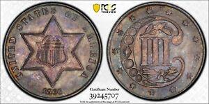 1860 3CS PCGS MS65 Toned Three Cent Silver, Rare!
