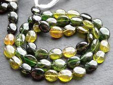 "HAND SHAPED GREEN & YELLOW TOURMALINE OVALS, approx 6x7mm, 14"", 40 beads"