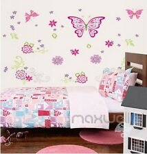 Large Pink Butterfly Flower Wall decals Removable sticker kids art nursery decor