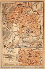 Antique map kaart plattegrond  Louvain Leuven 1901 carte