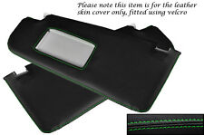 GREEN  STITCHING FITS VW POLO MK4 2000-2002 2X SUN VISORS LEATHER COVERS ONLY