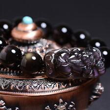"""Natural Ice Obsidian brave troops bracelets Prayer beads energy stone 冰ç§�é»'曜石è²""""貅手é """"¾"""
