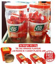Tic Tac Mint Drops Candy Orange Flavour 3.8g x 40 Packs Plastic Jar Bottle NEW