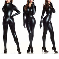 Black Womens Vinyl PVC Wetlook Leather CATSUIT CLUBWEAR Bodysuit Motor Jumpsuit