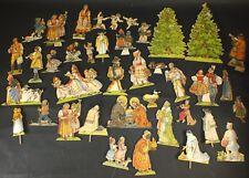 antike PAPIERKRIPPE - WEIHNACHTEN  - teilweise Laubsägearbeit - 40 Figuren