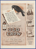 Vintage 1942 OLD CROW Kentucky Straight Bourbon Whiskey Alcohol Liquor Print Ad