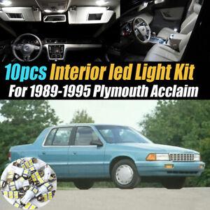10Pc Car Interior LED Super White Light Bulb Kit for 1989-1995 Plymouth Acclaim