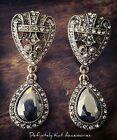 Stunning long vintage art deco crystal & black statement dangling stud earrings