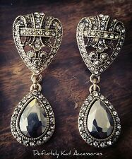 Stunning long vintage art deco crystal & black statement dangling stud earrings