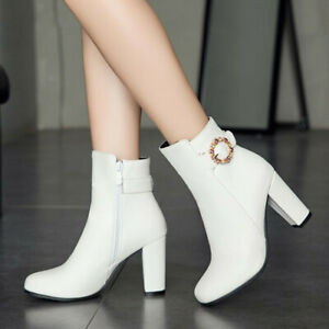 Ladies Plus Size Booties High Heels Buckle Ankle Boots Party Office Casual Shoes