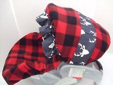FLEECE BUFFALO CHECKS PLAID/DEER INFANT CAR SEAT SLIP COVER Graco fit & custom