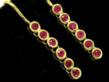 E048 Genuine 9ct Yellow Gold NATURAL Ruby Drop Earrings Articulated Journey