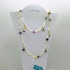 Collana lunga Sovrani Bijoux 112 cm. perle, calcedonio e cristalli