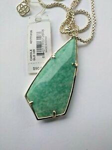 Kendra Scott Carole Amazonite Necklace Green pendant Gold tone chain NWT $90