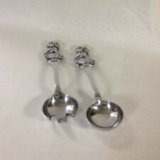 RABBITS ON HANDLES OF SALAD FORK AND SPOON tongs SERVING SET CAST METAL  BUNNY