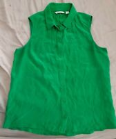Country Road Size XS Green Silk Sleeveless Top Collar