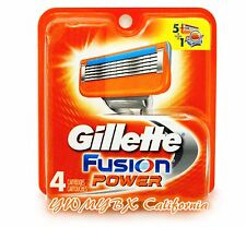 gillette fusion Razor Power blades 4,NEW 4 PACK 100%AUTHENTIC, #001