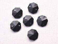 10pcs 14mm 2 Holes OCTAGON Faceted Crystal Glass Charms Loose Beads Black