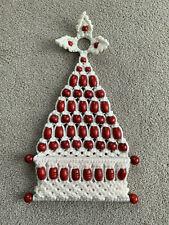 Vtg 70s Macrame Christmas Tree Hanging white cord w/ Red Beads Card Holder