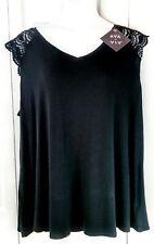Womens Ava & Viv Black Wide Neck Rayon Blend Sleeveless Top Shirt 4x