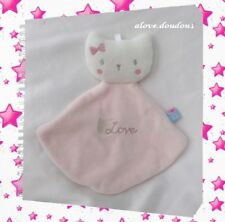 Doudou Chat Rose Blanc Love Sucre D'orge