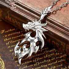 Simple Cool Silver Men's Stainless Steel Dragon Pendant Leather Chain Necklace